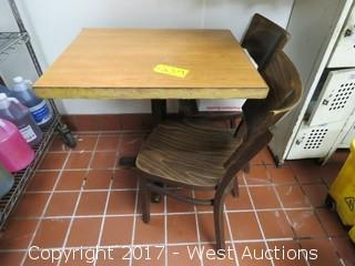 """(2) 32"""" Chairs with (1) 30"""" x 24"""" Wood Table"""