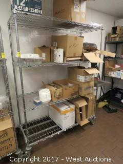 Metro Shelving Rack on Casters With Contents