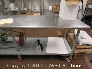 8'x2.5' Stainless Steel Rolling Table