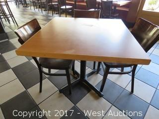 """Table Set: (1) 3"""" x 3"""" Wood Table with (4) 32"""" Wood Tables"""