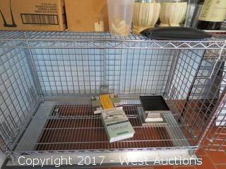 Metro Wire Cage Cart with Assorted Glassware