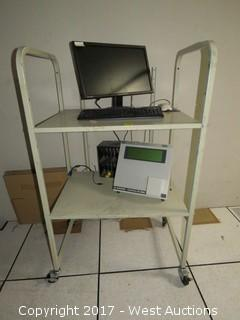 RDM Micr Verifier 53 with Monitor and Keyboard on Two Level Utility Cart