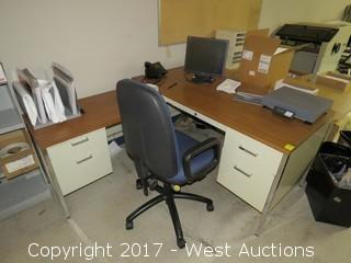 Metal Desk w/ Return, Chair, Monitor and Desktop Scale