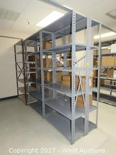(6) Steel Metal Shelf Units 7' x 3'