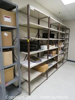 (4) Steel Metal Shelf Units 7' x 2.5'