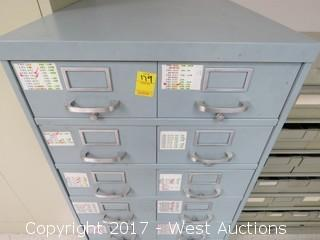 Metal Card File Storage Unit with 16 Drawers