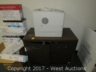 Wooden Cabinet with Hp Laserjet 4000 Tn Printer