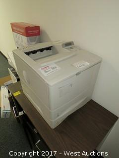 Wooden Cabinet with Hp Laserjet 4000 Tn Printer