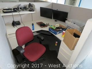 Contents Of Cubicle - Desk, Chair, Monitors, Office Supplies