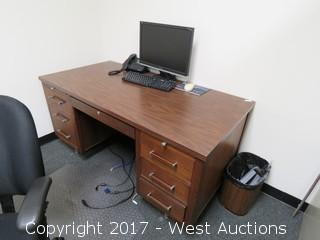 (2) Desks, (2) Chairs, Computer Monitor