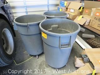 (3) Round Trash Bins with Dollies