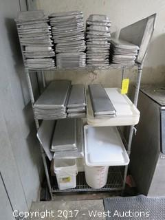 Metro Rack and Contents of Aluminum Trays