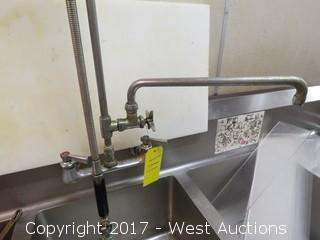 Stainless Steel 3 Basin Sink with Two Drain Boards