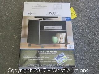 Mainstays TV Cart - Black Oak Finish