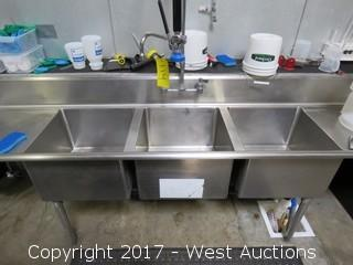 Stainless Steel 3-Basin Sink with Rinse Faucet and Various Contents