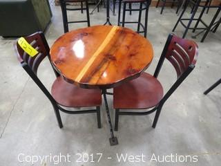 (1) Round Wood Slab Topped Table and (2) Chairs