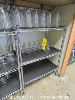 "Aluminum Metro Rack 2' X 31""  with (39) Pieces of Glassware"