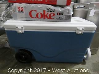 Coleman Cooler And (3) Soda Packs