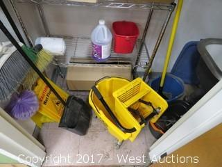 Janitorial Closet Contents: Metro Rack, Brooms, Mops, Cleaning Products, Wet Floor Signs
