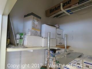 Closet Contents; Metro Rack, Led Bulbs, Paper Products