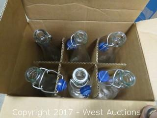 Box of (6) Glass Water Bottles 33 Oz
