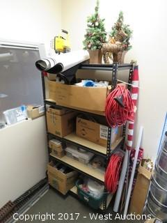 Contents of Room: Shelving, Stands, Glassware, Yard Tools, Decorations