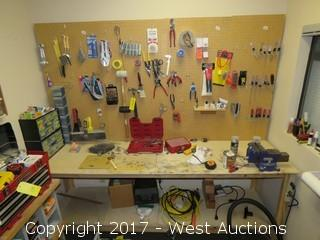 Work Bench and Peg Board Organizer With Tools