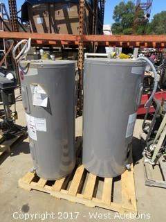 Palllet; (2) Rheem Water Heaters