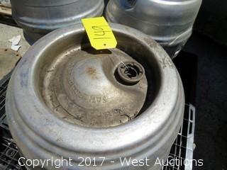 Pallet; (3) Stainless Steel Beer Kegs