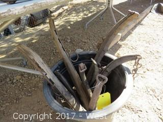 Bucket of assorted old Horse Harness Pieces