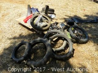 Pallet of Motorcycle Parts - Fenders, Seats, Handle Bars and Tires