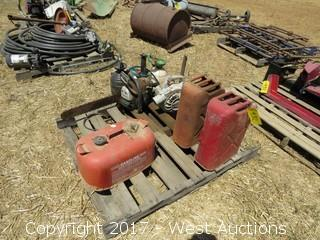 Gas Cans, Chain Saw and Blower Motor