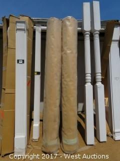 (2) Smooth Round Real Wood Columns 8' x 12""