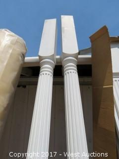 """(2) Fluted Turned Support Columns 9' x 5"""""""