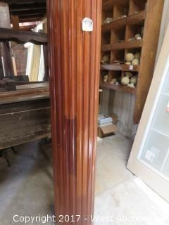 """(2) Full Round Fluted Varnished Real Wood Columns 8' x 12"""""""