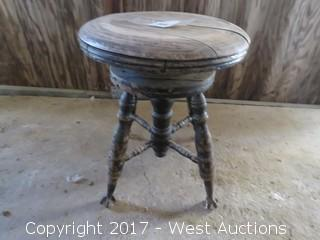 Old Piano Stool with Clawed Ball Feet