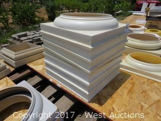 "(7) Poly 10"" Round Column Bases and (5) Poly 10"" Half Bases"