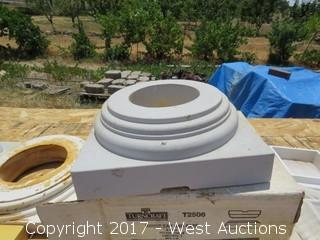 "(2) Poly 6"" House Round Cap & Base, Plus (1) Base"