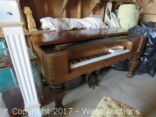 1884 Square Grand Emerson Cline Piano with Matching Piano Stool