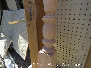 (3) Oak Round Top Newels