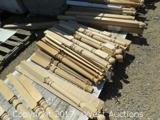 (33) Pieces Assorted Half Round Newels, Miscellaneous Oak Fluted Half Round Tops