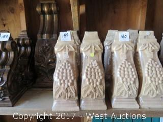 (3) Oak Corbels with Grape Design
