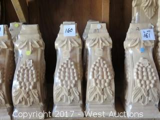 (4) Maple Wood Corbels with Grape Design