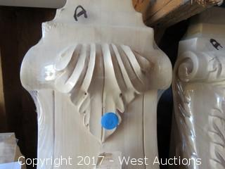 (3) Assorted Alder Wood Corbels with Grape Designs