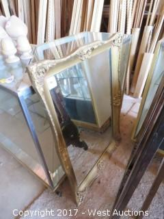 Framed Mirror and Ornate Wooden Easel