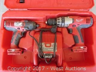 Milwaukee 18 Volt Cordless Power Drill Set