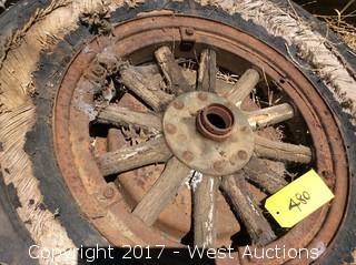 """(2) Old Wooden Wheels with 22"""" Rims"""