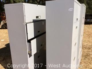 (3) Five Drawer Metal Roll Out File Cabinets