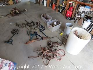 Bulk Lot of Horse Tank; Halters, Colt Halters, Head Stalls, Cow Bells, Stirrups, Bits
