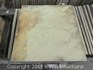"(1) Crate of India Fossil Sandstone Slate 16"" x 16"" Ungauged"